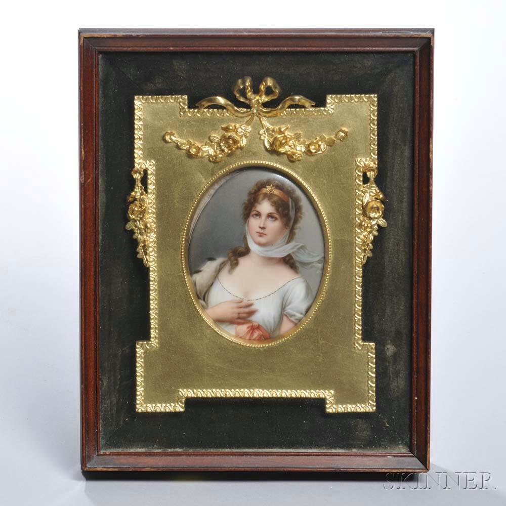 Framed Berlin-style Polychrome Porcelain Plaque of Princess Louise of Austria