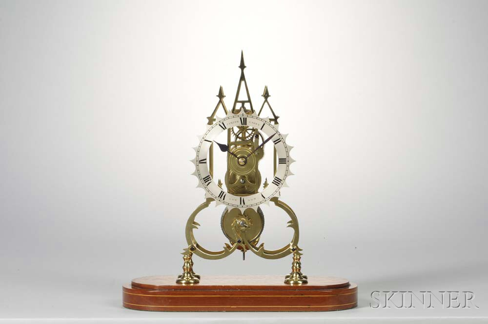 J. Smith and Sons Brass Scroll-plate Fusee Skeleton Clock