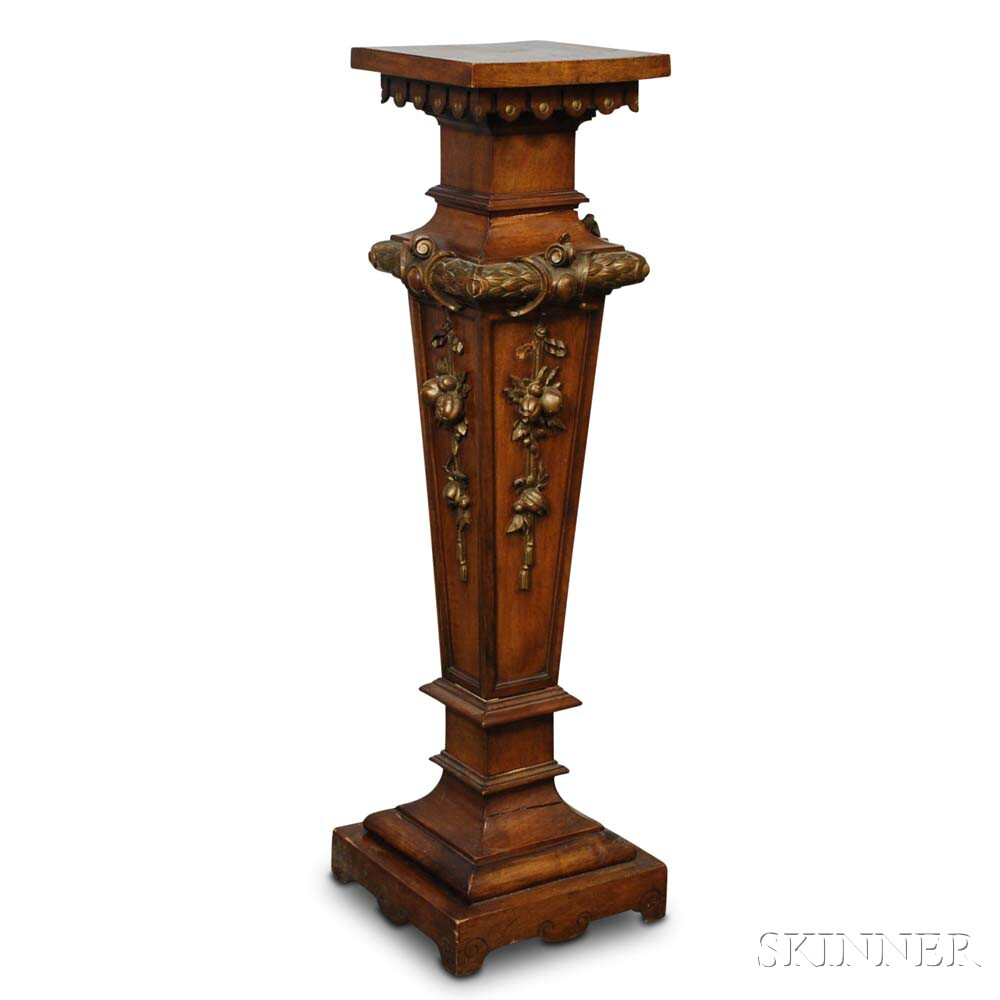 Neoclassical-style Carved Walnut Pedestal