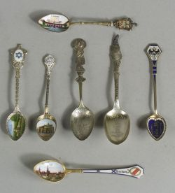 Group of Thirty-one European Silver and Enamel Souvenir Spoons