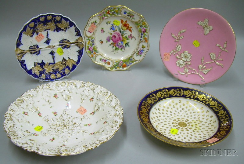 Five Continental and English Decorated Porcelain Plates and Bowls