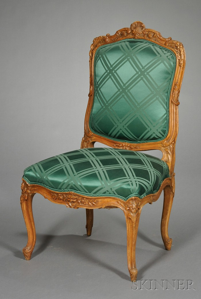 Louis XV-style Carved Beechwood and Silk Upholstered Side Chair
