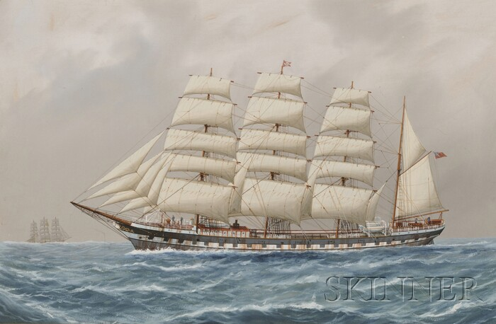 British School, 19th/20th Century      A Four-Masted Barque Under Full Sail