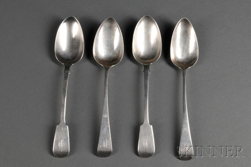 Four English Silver Place Spoons