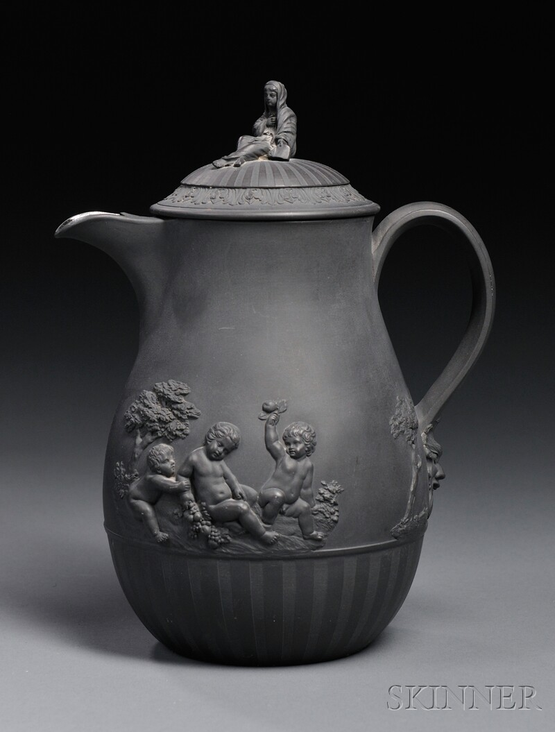 Wedgwood Black Basalt Water Pitcher and Cover
