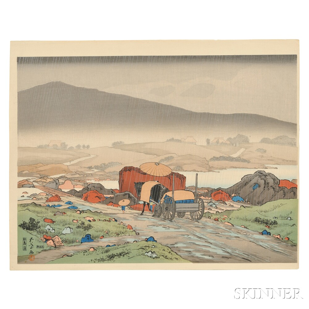 Hashiguchi Goyo (1880-1921), Yakabei Valley in the Rain