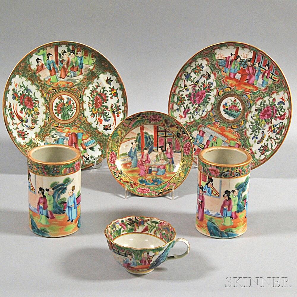 Six Pieces of Rose Medallion Porcelain