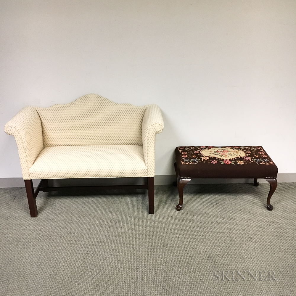 Chippendale-style Upholstered Mahogany Window Seat and a Bench