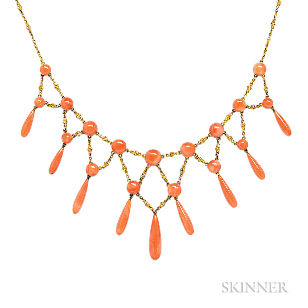 Antique Gold and Coral Fringe Necklace