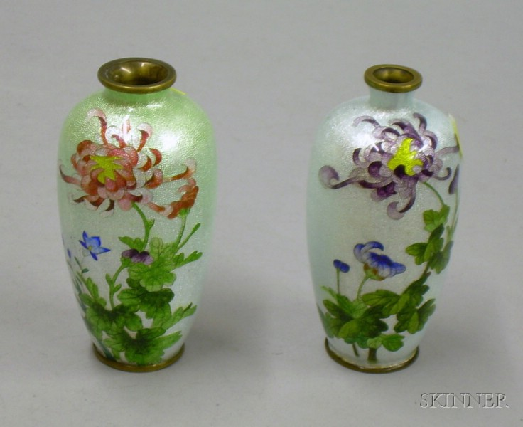 Two Small Japanese Cloisonne Chrysanthemum Decorated Vases