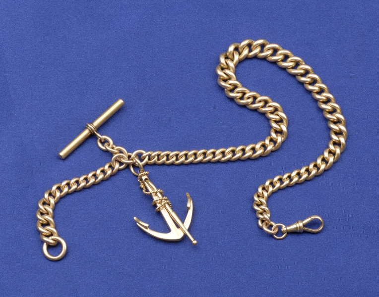 Antique 14kt Gold Watch Chain and Anchor Fob