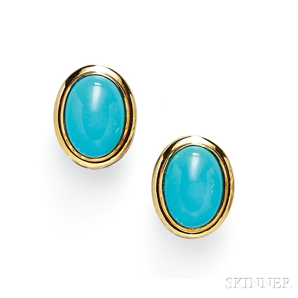 Turquoise Earclips, David Yurman