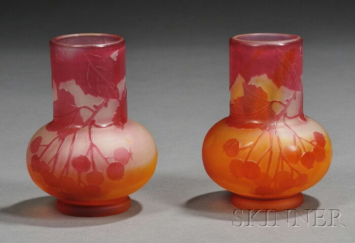 Two Galle Cameo Glass Vases