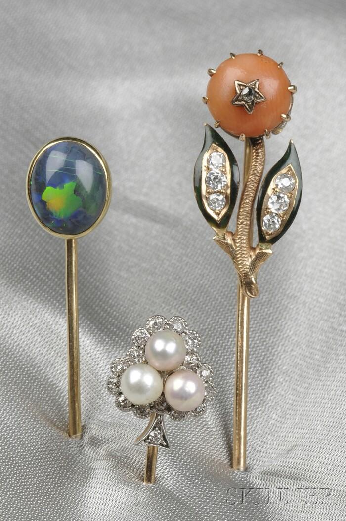 Three Antique 14kt Gold Gem-set Stickpins