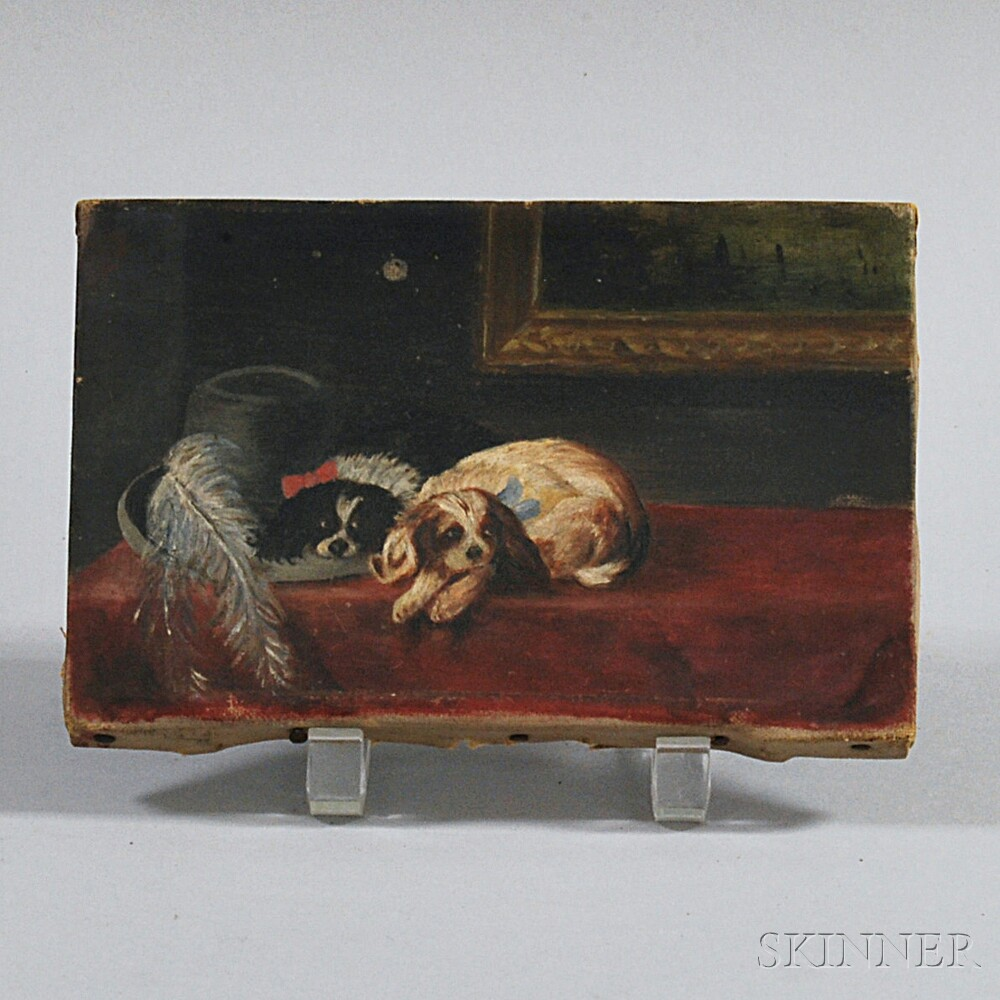 European School, 19th Century       Two Recumbent Spaniels.