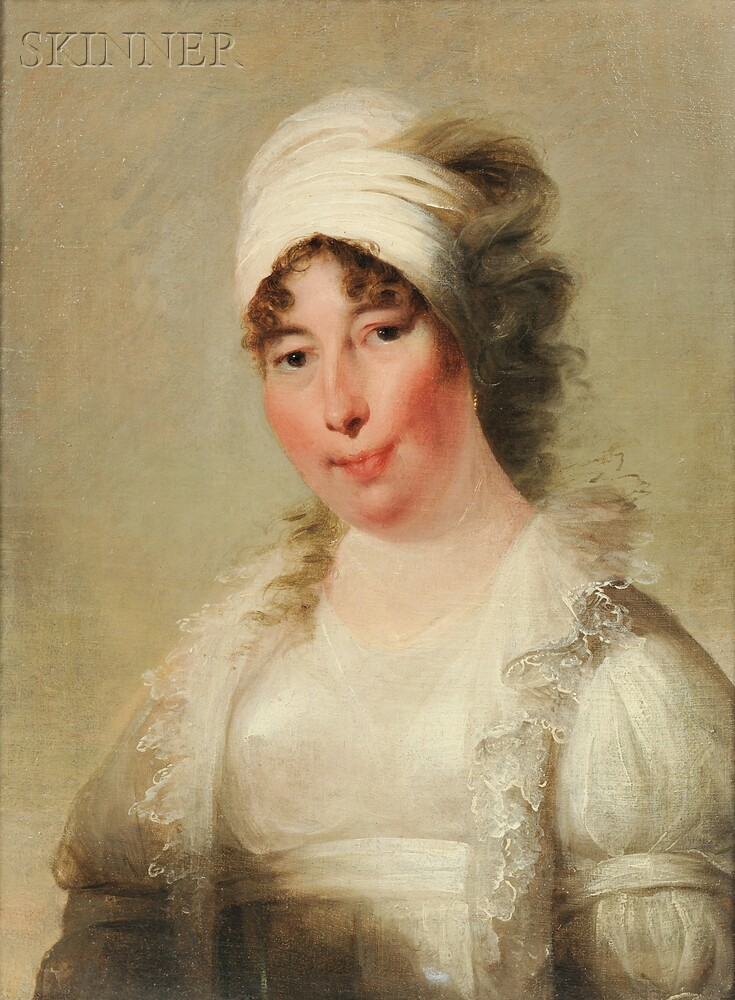 Attributed to Thomas Sully (American, 1783-1872)    Woman in White, Possibly the Artist's Wife, Sarah