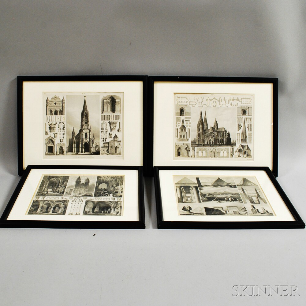 Four Framed Architectural Engravings