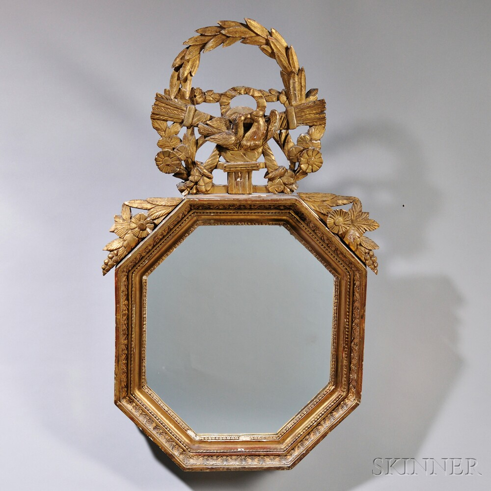 Louis XVI Giltwood Shaped Hexagonal Mirror