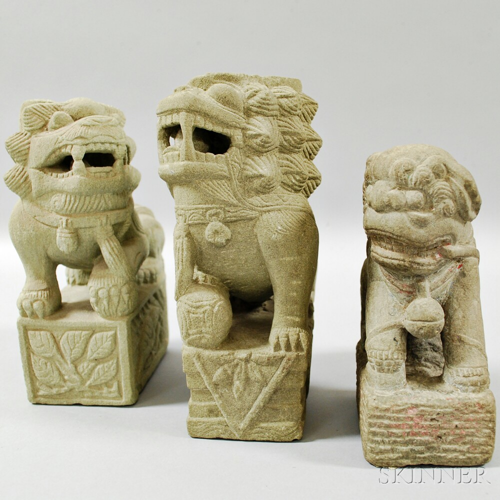 Three Sandstone Carvings of Shishi   Lions