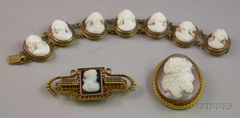 Three Pieces of Victorian Shell or Onyx Carved Cameo Jewelry