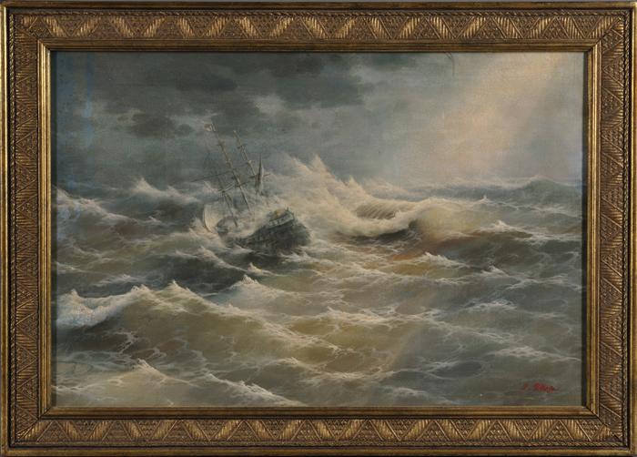 British School, 20th Century      A Frigate in Stormy Seas