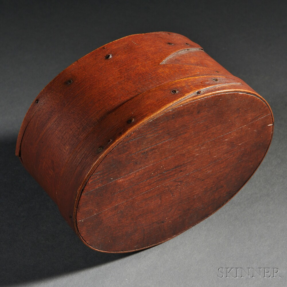 Small Red-stained Oval Covered Box