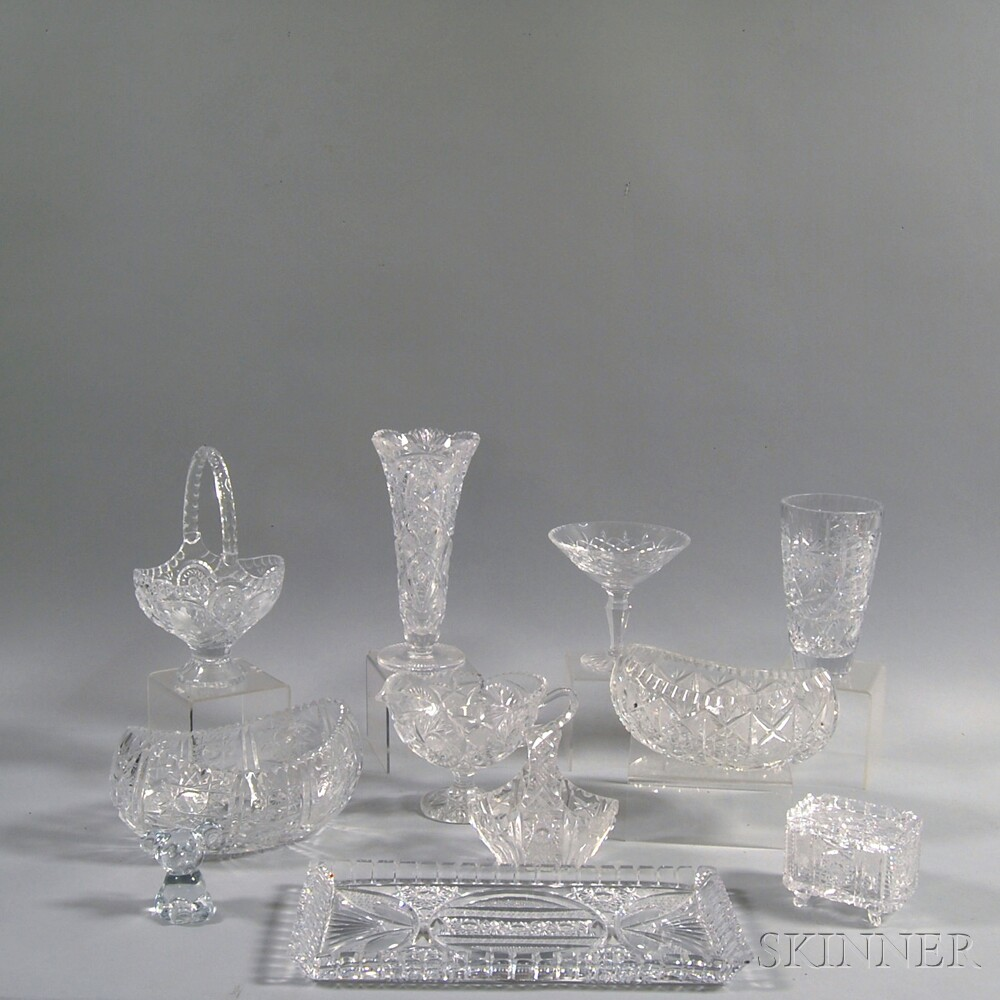 Eleven Pieces of Cut and Colorless Glass