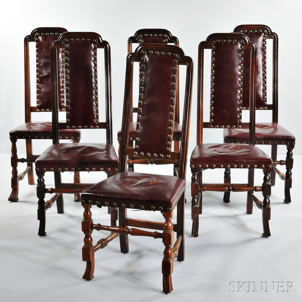 Assembled Set of Six Mahogany Leather-upholstered Crook-back Chairs