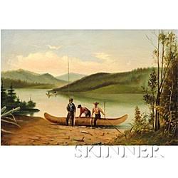 American School, 19th Century  Salmon Fishing.