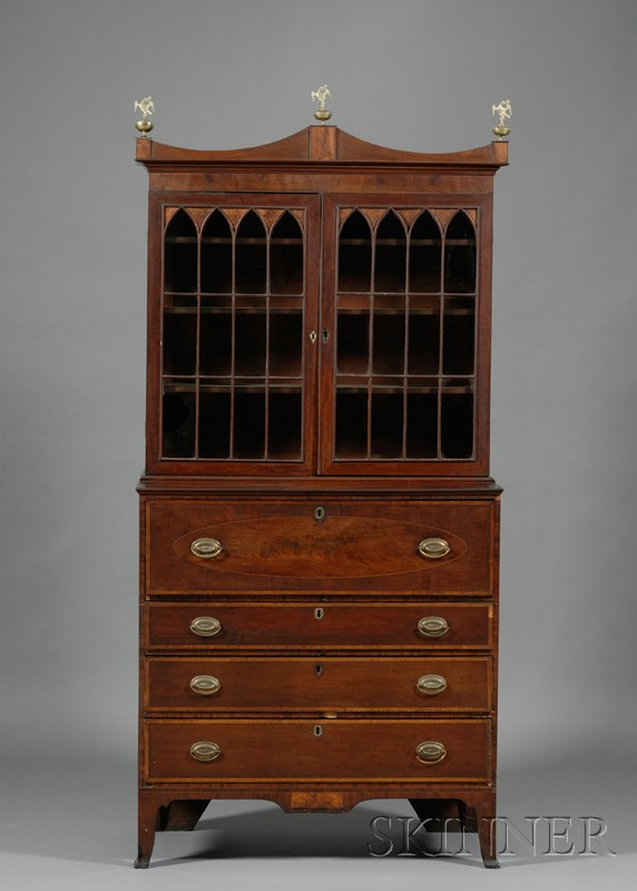 Federal Mahogany, Wavy Birch, and Bird's-eye Maple Inlaid Glazed Desk Bookcase