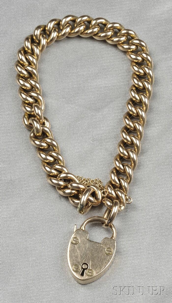 Antique 15kt Gold Padlock Bracelet