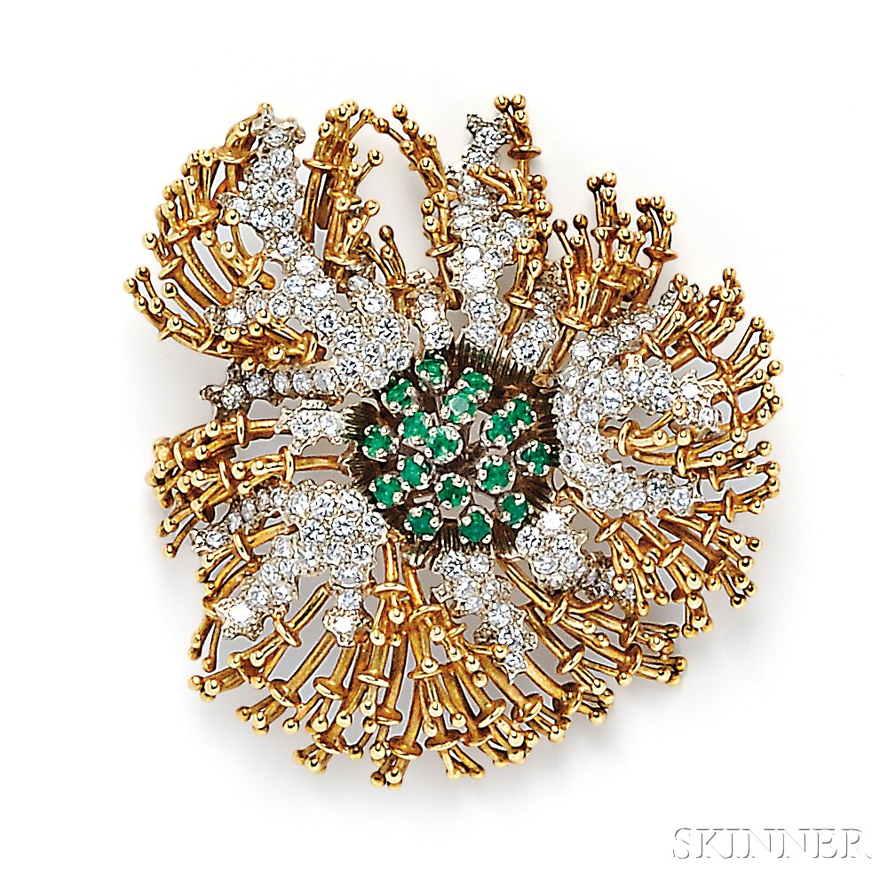 18kt Gold, Emerald, and Diamond Brooch, Cartier