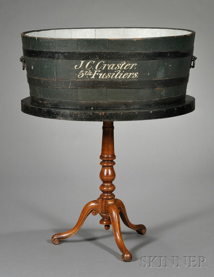 British Campaign Style Wrought-iron Mounted and Painted Metamorphic Wash Tub