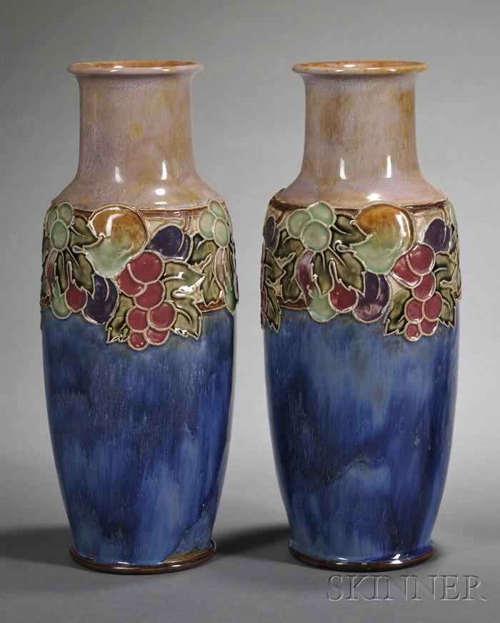 Pair of Royal Doulton Art Nouveau-style Vases