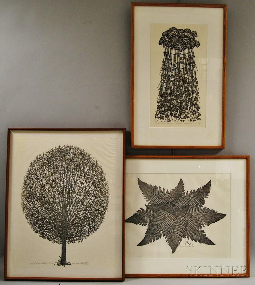 Jacques Hnizdovsky (Ukrainian/American, 1915-1985)      Three Woodcuts: Leafless Tree ,  Zabrina Pendula