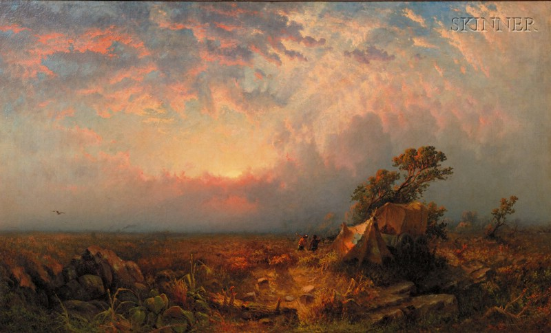 William H. Weisman  (American, 1840-1922)      Pioneers at Sunset