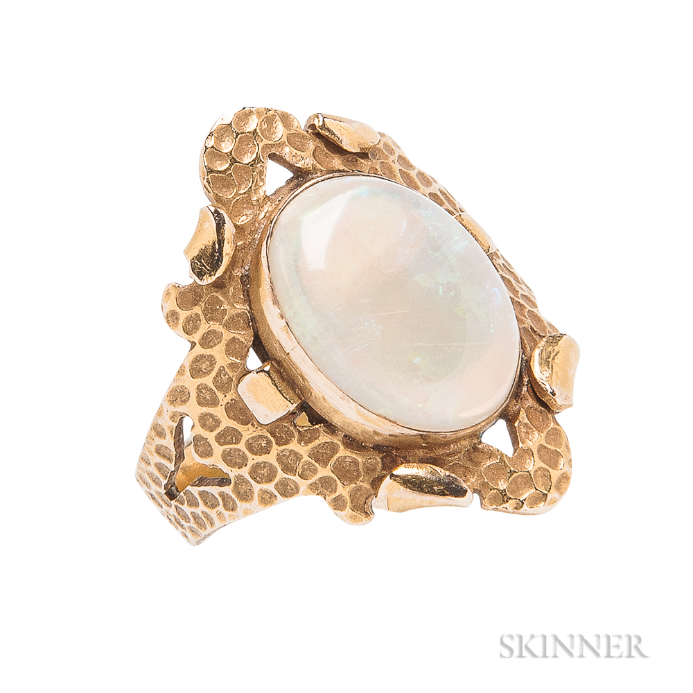 Rare Arts and Crafts 10kt Gold and Opal Ring, Walter Jennings