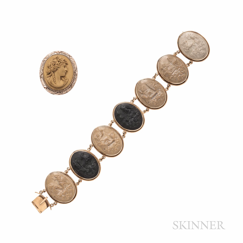 14kt Gold and Lava Cameo Bracelet