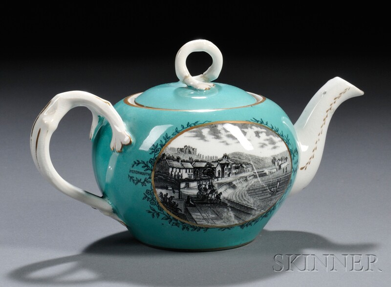 Staffordshire Porcelain Transfer-decorated Teapot and Cover