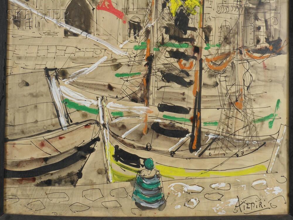 Paul Aïzpiri (French, b. 1919)      Harbor View, Possibly Saint-Tropez