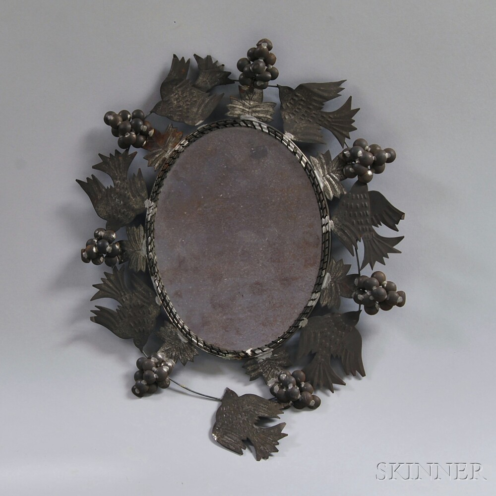 Tin-framed Mirror and a Patriotic Crocheted Doily.     Estimate $50-100