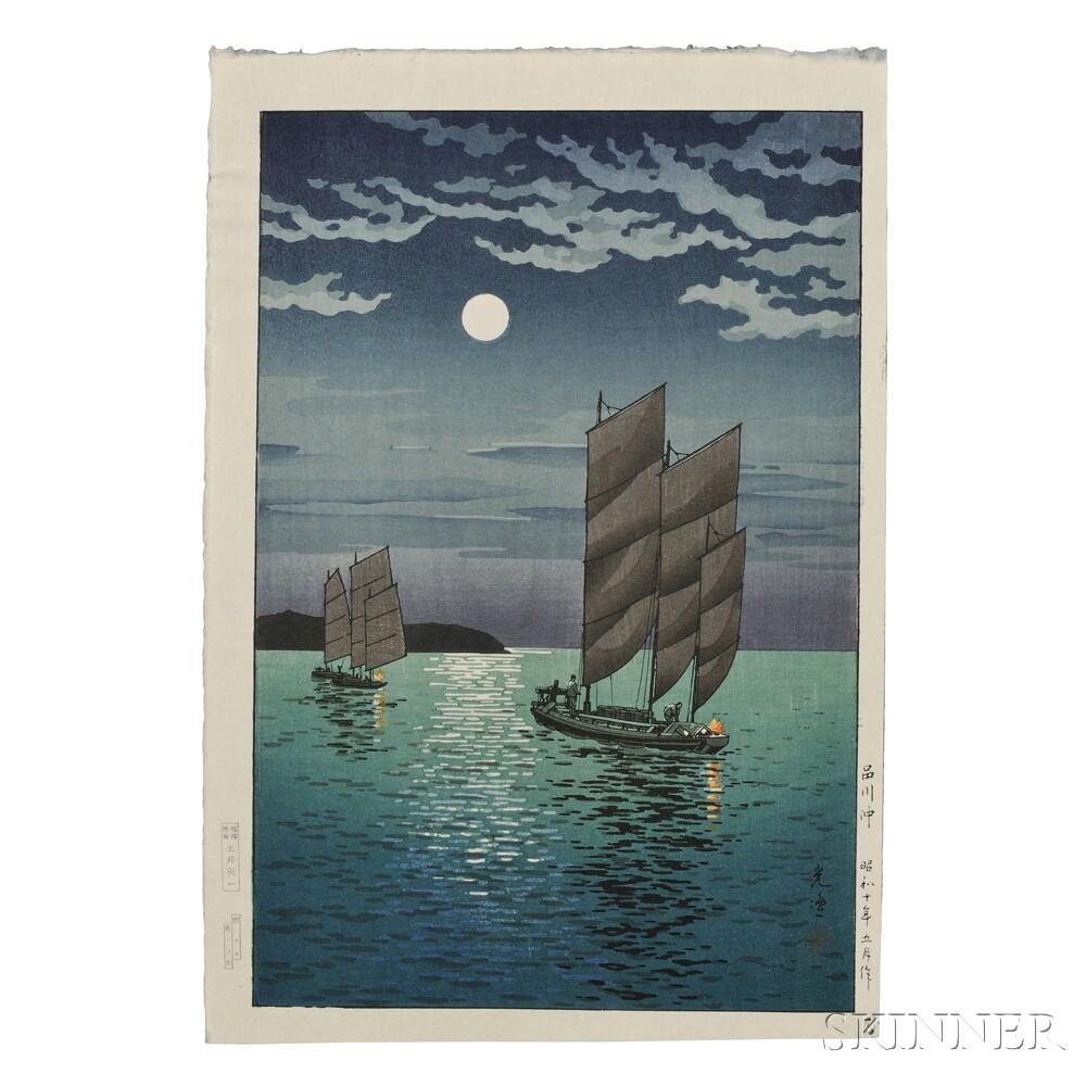 Tsuchiya Koitsu (1870-1949), Boats at Shinagawa