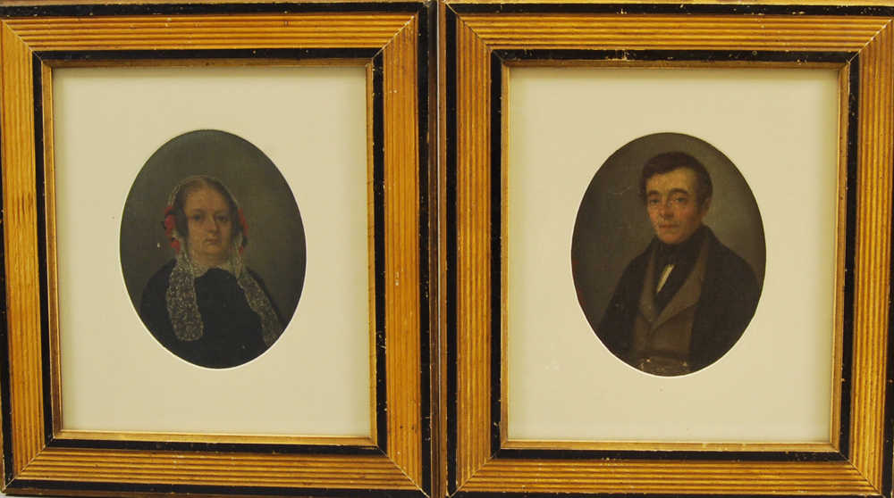 Pair of Framed Oil on Board Portraits