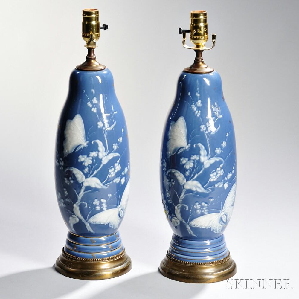 Pair of Limoges Porcelain Pate-sur-Pate Lamp Bases