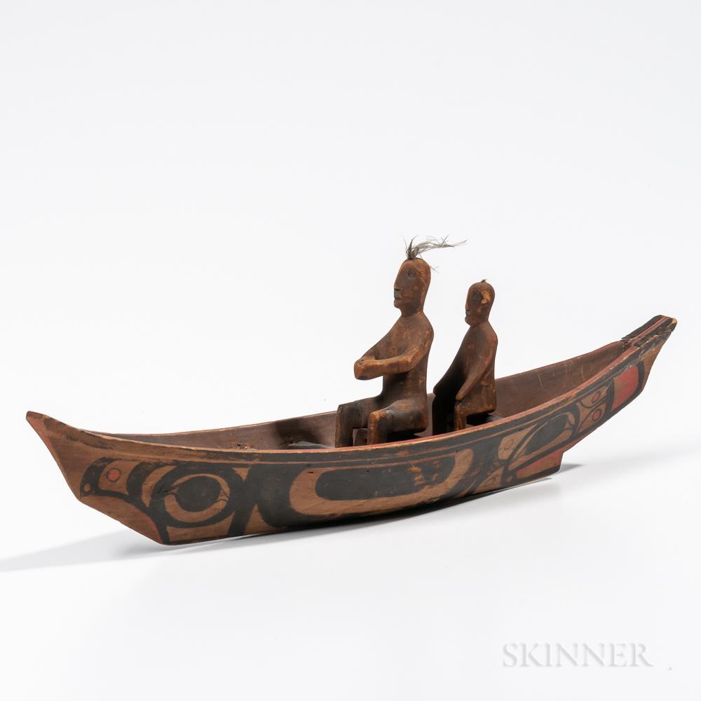 Northwest Coast Painted Model Canoe