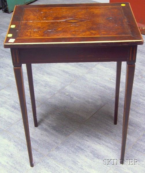 Neoclassical Inlaid Mahogany and Burl Veneer Stand with Tapering Legs.