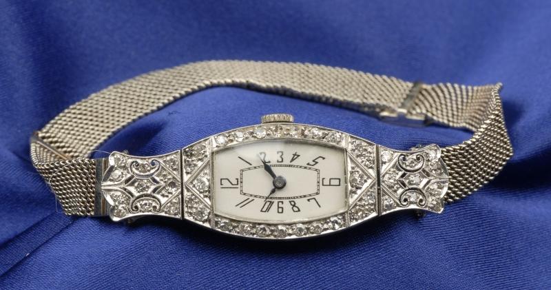 Art Deco Lady's Platinum and Diamond Wristwatch