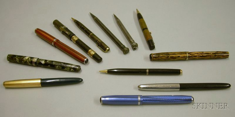 Seven Assorted Fountain Pens and Five Mechanical Pencils.