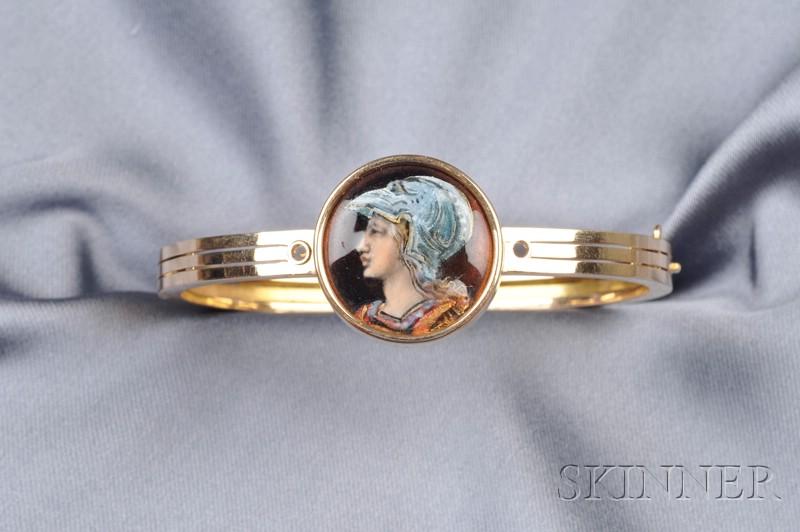 Antique 18kt Gold and Enamel Bangle Bracelet, Tiffany & Co.