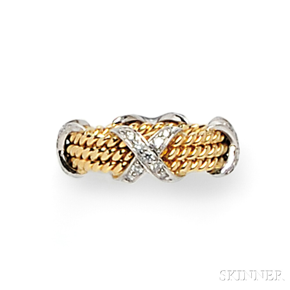 "18kt Gold, Platinum, and Diamond ""Rope"" Ring, Schlumberger, Tiffany & Co."